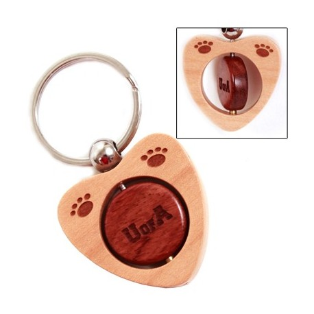 Twirling Center Wood Keychain