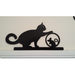 Playful Cat & Mouse Silhouette - Door/Window Topper Painted